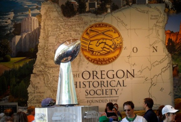 The Lombardi Trophy inside the Oregon HIstorical Society.