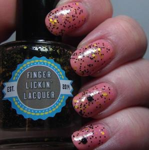 Finger Lickin' Lacquer - She Works Hard for the Honey over Peachy Keen