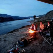 campfire along columbia river gorge, rufus, oregon