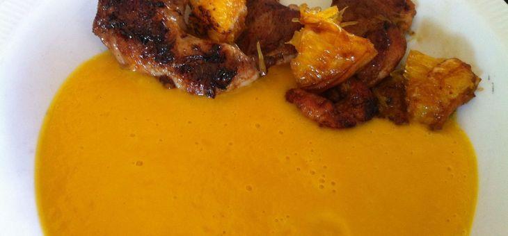 Crema de pastanaga i taronja amb guatlla