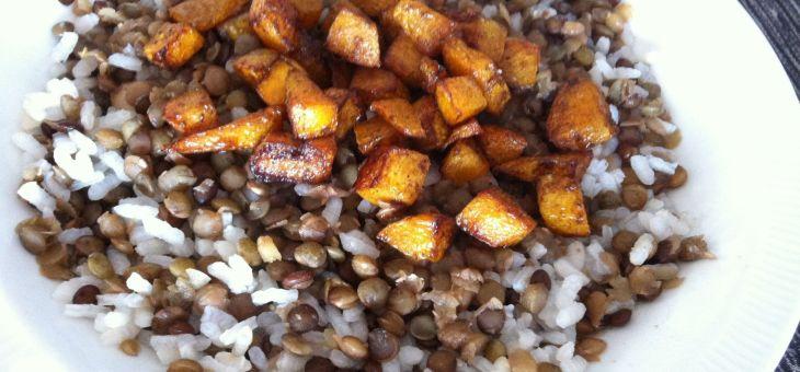 Llenties amb arròs i carbassa
