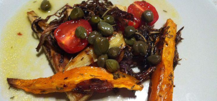Xirivies i boniatos al forn amb vinagreta de tàperes
