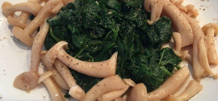 Espinacs i bolets amb yuzu