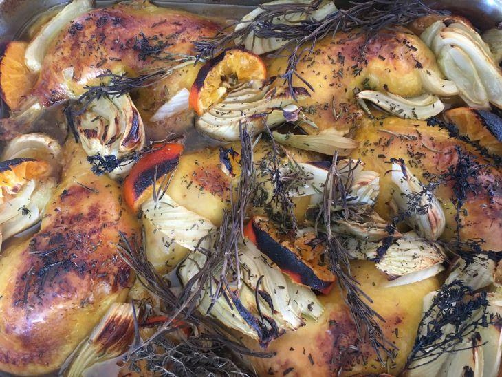 Pollastre amb mandarines i fonoll al vermout