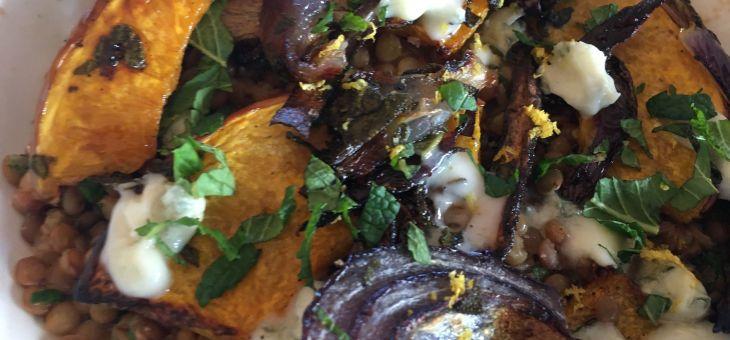 Carbassa al forn amb llenties i gorgonzola