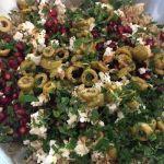 Arròs a la menta amb magrana, feta i olives