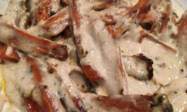 Pastanagues al forn amb salsa de tahina i iogur