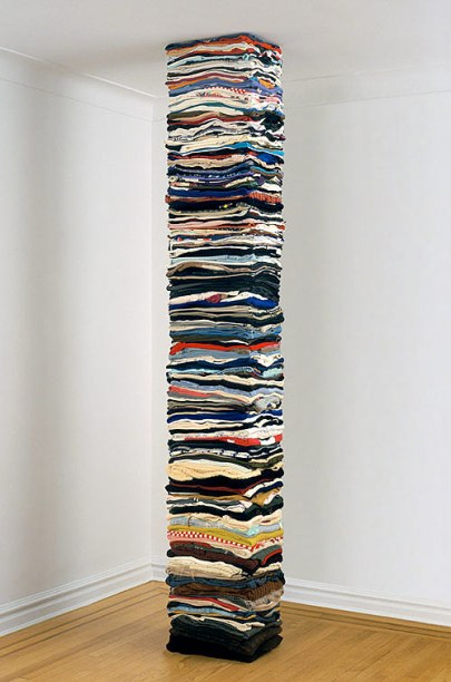 derick melander sculptures second-hand clothing artist