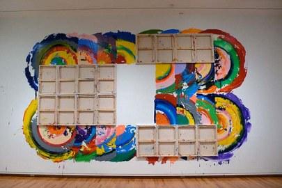 artista pintor pintura Richard Jackson instalación de pintura de la lona como cepillo