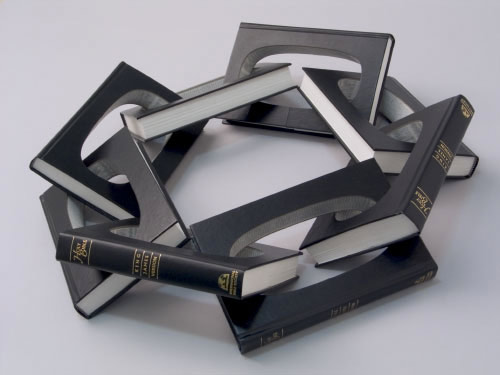 Book sculptures by artist Robert The