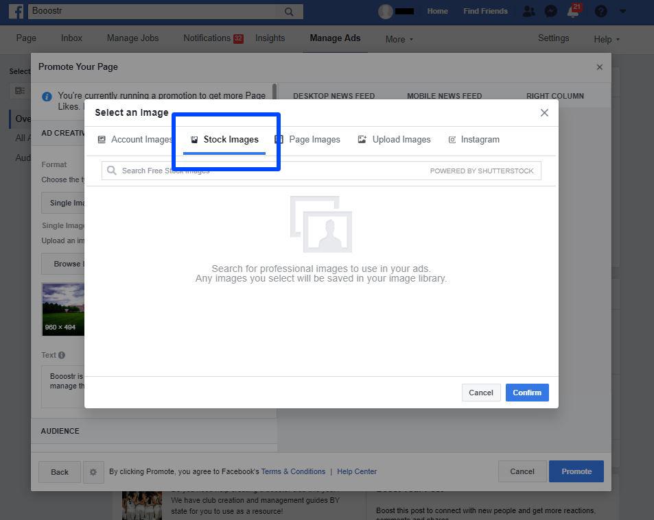 Create a Booster Club Facebook Ad