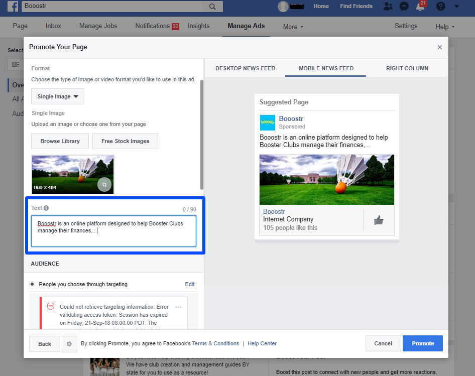 Create a Facebook Ad for your Booster Club