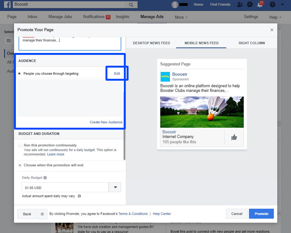 Create your first Facebook Ad for your Booster Club