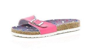 GIRLS PINK FOOTBED SANDALS