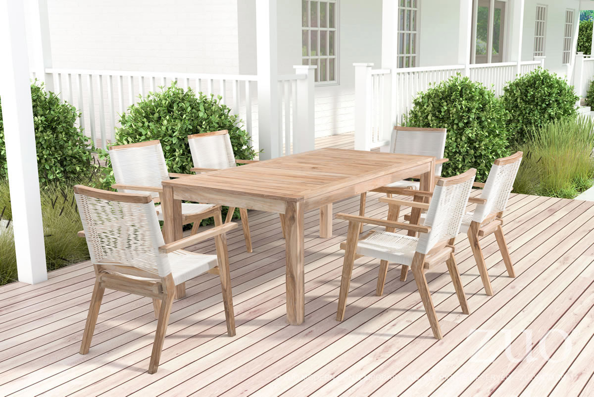 zuo outdoor west port dining table in white wash