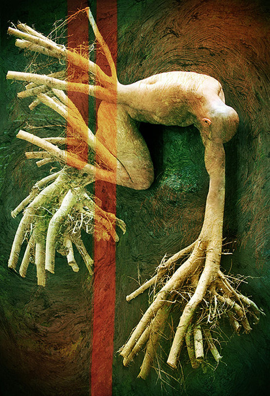 Roots of Human Being, Bizarre Photo Manipulation of Self Portrait