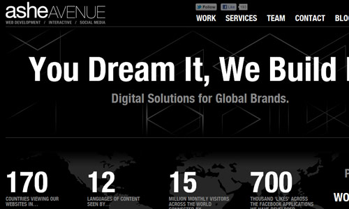ashe avenue in 30 Excellent Black Website Designs for Inspiration