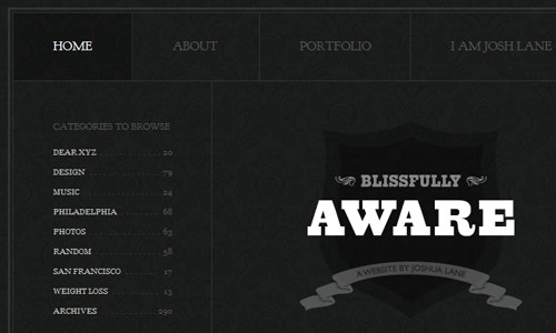 blissfully aware in 30 Excellent Black Website Designs for Inspiration