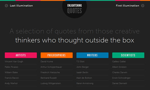 enlightening quotes in 30 Excellent Black Website Designs for Inspiration
