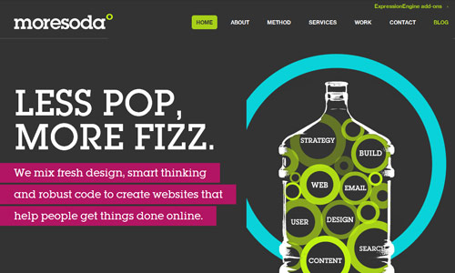 moresoda in 30 Excellent Black Website Designs for Inspiration