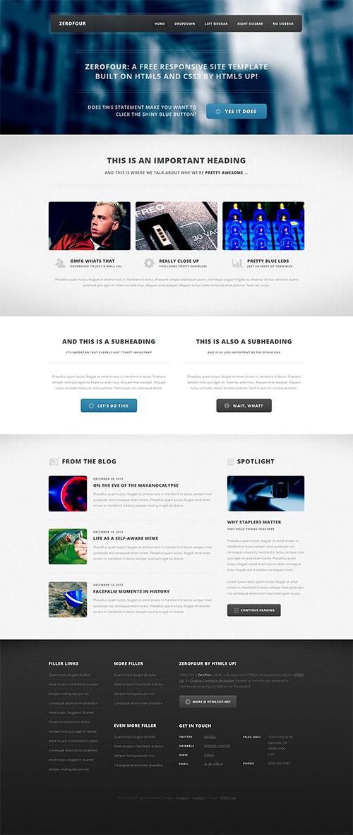ZeroFour - Responsive HTML5 Magazine Template Design