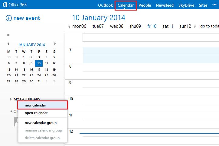 Office 365 Shared Calendar