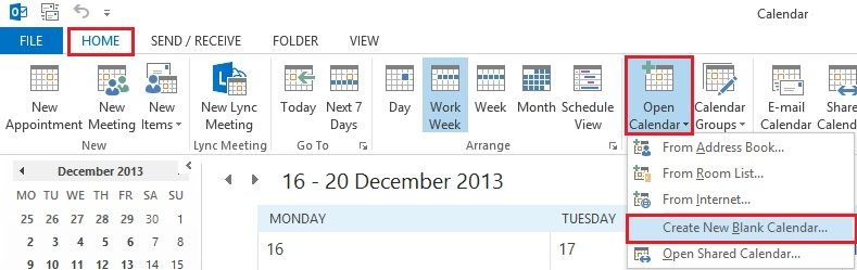 how to create a shared calendar in outlook