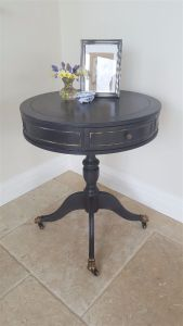 black and gold drum table