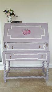 oak bureau jacobean revival style pale pink