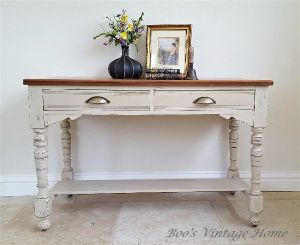 oak top console table, shabby chic, painted hall table