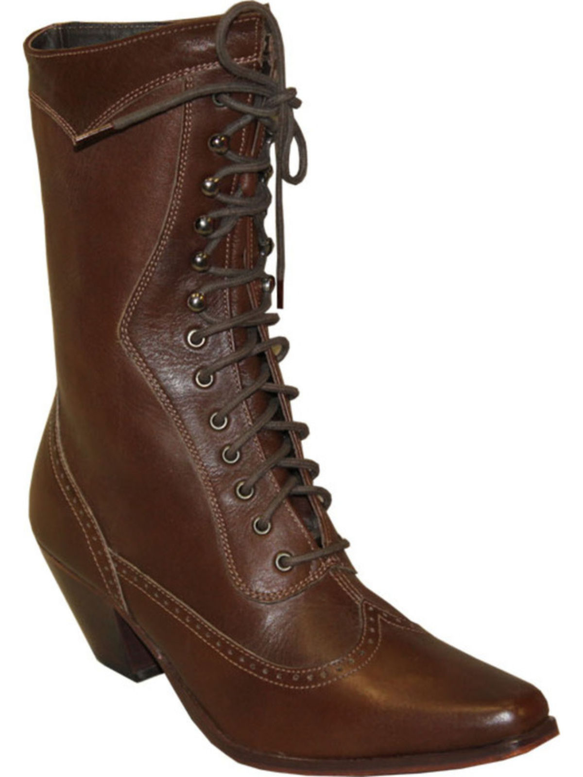 Bootamerica Rawhide Womens Brown Victorian Lace Up Boot 5011