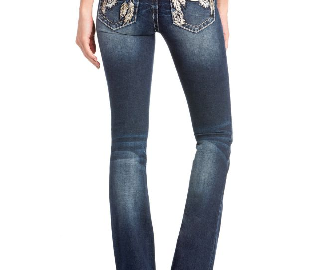 Miss Me Womens Floral Dreamcatcher Embroidered Boot Cut Jeans