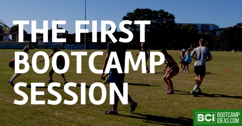 A group of bootcamp participants play a game on a field supervised by the instructor, Kyle Wood. The text The First Bootcamp Session is overlayed.