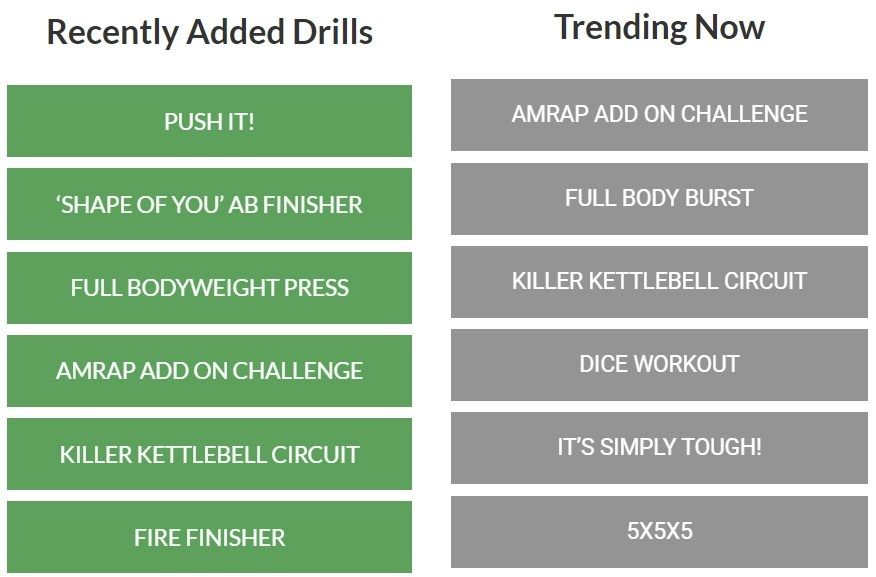 A list of recently added and trending drills on BootCraft