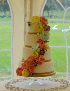 Peony flowers cascade wedding cake