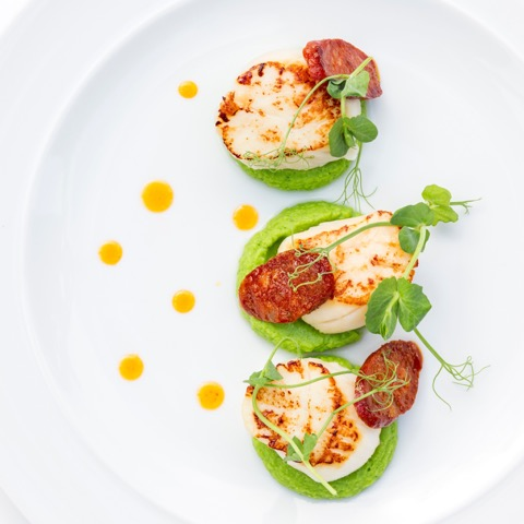 Seared Scallops with Pea Puree and Chorizo Butter
