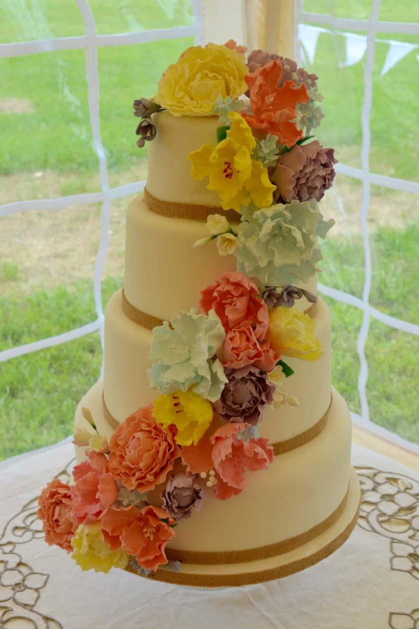 Peony flower cascade wedding cake