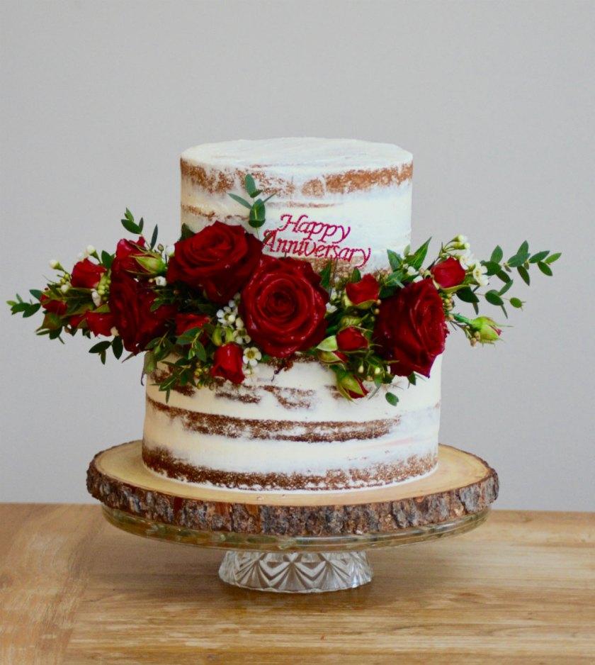 Semi naked ruby anniversary wedding cake