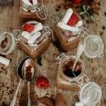 Luxury mini chocolate pots served in lidded jars
