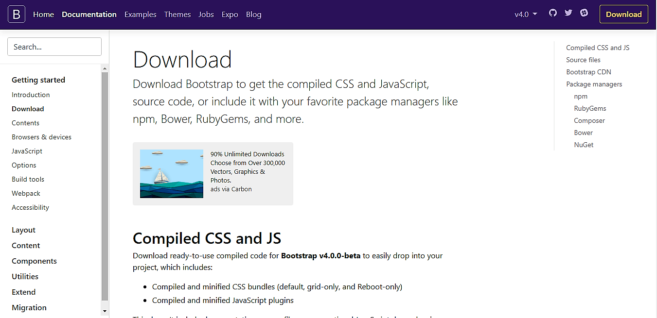Bootstrap 4 beta download page