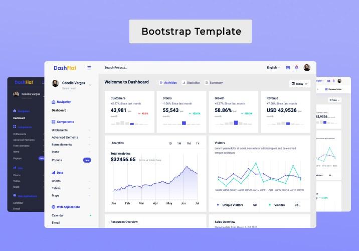 admin template Dashflat admin dashboard