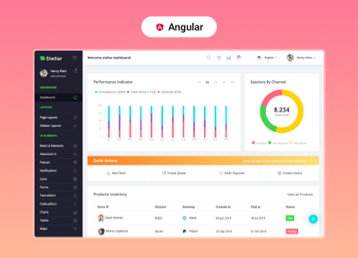 angular 2 dashboard Stellar Angular admin template