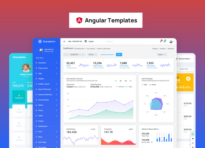 angularjs dashboard Star Admin Angular