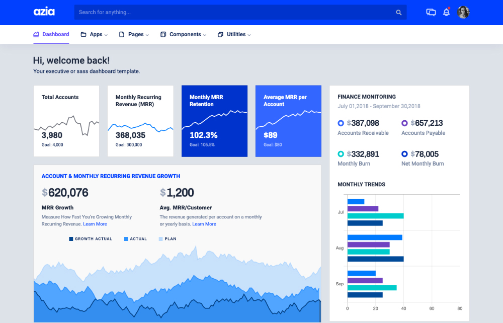 sass dashboard template
