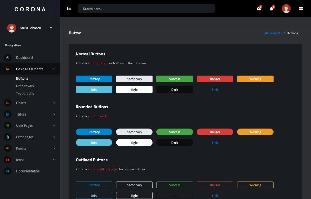 free vue js admin panel template buttons