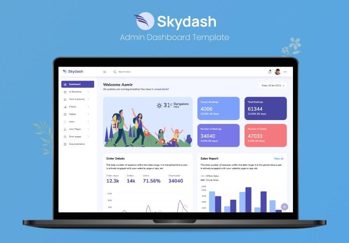 Skydash bootstrap admin dashboard preview