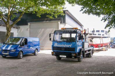 Rücktransport der Proficiat nach Refit auf dem Werftgelände der Bootswerft Baumgart in Dortmund