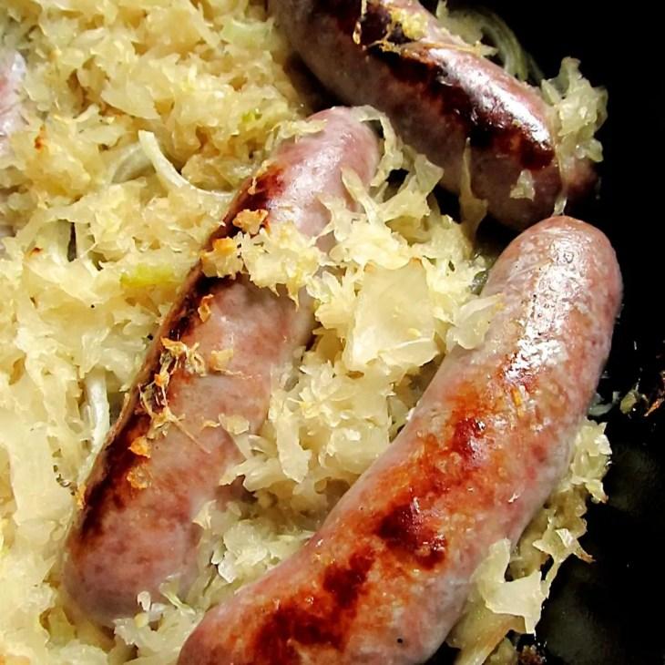 Garlic Brown Sugar Bratwurst and Sauerkraut