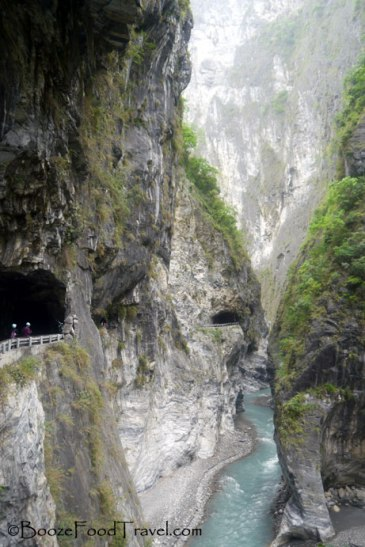 Roads running through the mountainside at Taroko Gorge