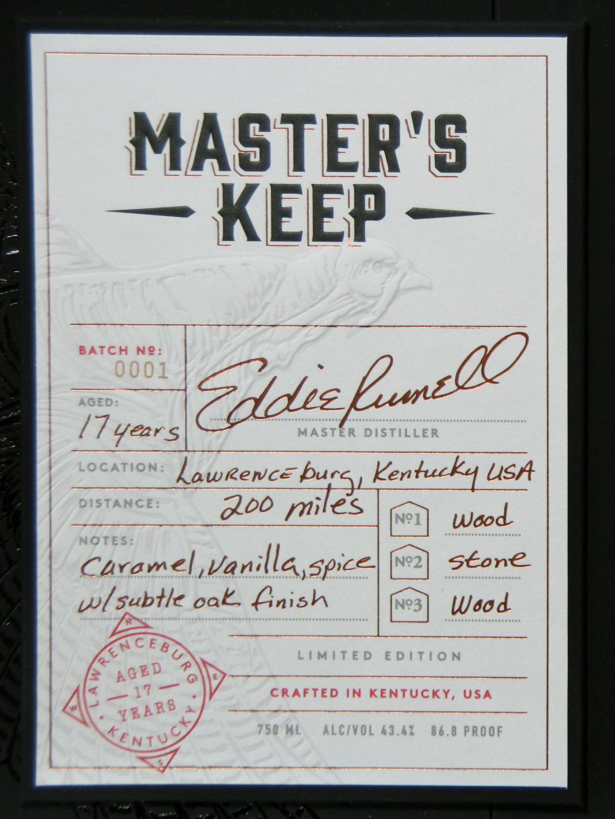 Wild Turkey Master's Keep Label